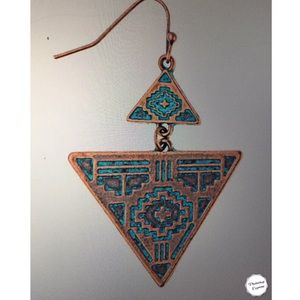 COPPERY-PATINA TRIANGLE DANGLES